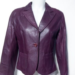 Vintage Wine Butter Soft Leather Short Jacket SM